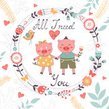 All I need is you romantic card with cute pigs. Couple. vector illustration Royalty Free Stock Photo