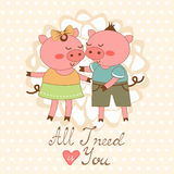 All I need is you romantic card with cute pigs. Couple. vector illustration Stock Images