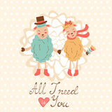 All I need is you romantic card with cute sheep Royalty Free Stock Image
