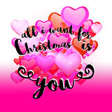 All I Want for Christmas is You Quote on red Rising Hearts Backg Stock Image