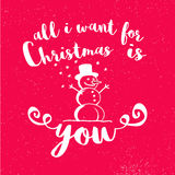 All I Want for Christmas is You with Snowman on red Background Royalty Free Stock Images