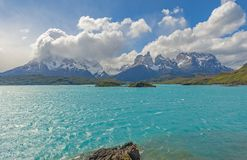Turquoise waters of Pehoe Lake, Patagonia, Chile. All the important Andes peaks of Torres del Paine national park by the turquoise waters of Pehoe Lake: Paine royalty free stock images