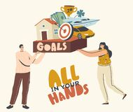 Free All In Your Hands, Goals Achievement Concept. Male And Female Characters Aiming To Success, Man And Woman Dreaming Royalty Free Stock Photo - 207162805