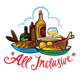 All inclusive. Food hotel resort breakfast lunch meal Stock Images