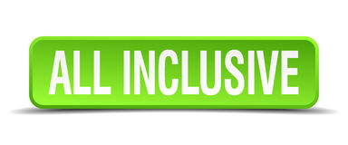 All inclusive green 3d realistic square button Stock Photography