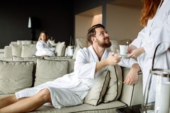 All inclusive luxury service. In resting room Royalty Free Stock Photo