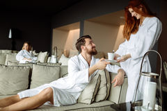All inclusive luxury service. In resting room Royalty Free Stock Photography