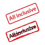 All inclusive stamp for tourism in red and black colors and grunge style. Royalty Free Stock Image