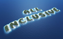 All inclusive vacation. Abstract background of tropical islands spelling all inclusive, holiday or vacation concept with blue sea background Royalty Free Stock Image