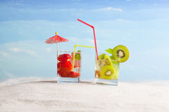 All inclusive vacation concept. Tropical drinks on the beach, all inclusive vacation Royalty Free Stock Images