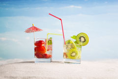 All inclusive vacation concept. Tropical drinks on the beach, all inclusive vacation Stock Photo