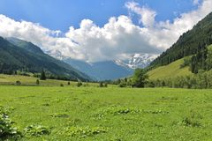 All'inizio di alta strada alpina di Grossglockner, Ferleiten, Austria Immagine Stock