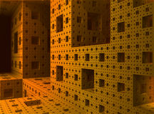 All'interno di un oggetto di frattalo della spugna di 3D Sierpinski Fotografie Stock Libere da Diritti