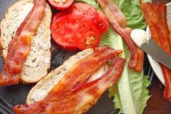 Making BLT sandwich stock images