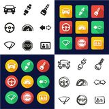 All körskola i en symboler uppsättning för design för svart- & vitfärglägenhet Freehand Royaltyfria Bilder