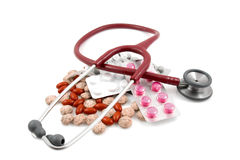 All kind of medicine and stethoscope Royalty Free Stock Photography