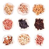 All kind of nuts in the bags Royalty Free Stock Photo