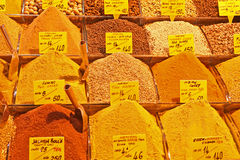 All kind of oriental spices in the Istanbul Spice Bazaar Stock Photo