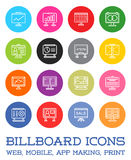 All Kinds of Billboard Icons, Set of Vector Icons for all Purposes, Business, Web, Mobile or Print stock illustration