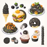 All kinds of black food stock illustration
