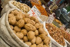 All kinds of nuts and raisins in Open Market Stock Images