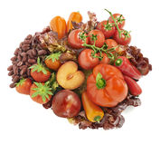 All kinds of red fruits and vegetables arranged in a group with Stock Photo