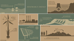 All kinds of renewable energy. Ground water, wind, fire royalty free illustration