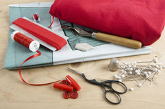 All kinds of sewing things in red Royalty Free Stock Images