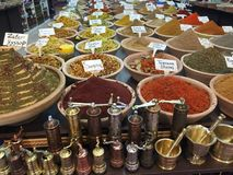 All kinds of spices. Spice shop in the Old City of Jerusalem stock photos