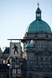 All kinds of traffic signs in front of the Parliament building Royalty Free Stock Photography