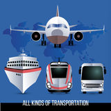All kinds of travel transport. Plane, bus, train and cruise liner. One style set. Stock Photo