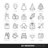 All Kinds of Wedding Marriage or Bridal Icons Set Vector. Black and White Royalty Free Stock Photos
