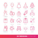 All Kinds of Wedding Marriage or Bridal Icons Set Vector. Stock Photo