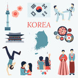 All about Korea. Flat design elements. KPOP, Korean series,flag, nation flower,taekwondo,map,tourist attractions and etc Stock Photo