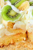 All layers of pavlova cake inside close up stock photography