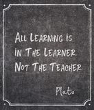 All learning Plato quote. All learning is in the learner, not the teacher - ancient Greek philosopher Plato quote written on framed chalkboard royalty free stock photo