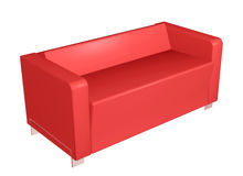 All-leather red sofa, 3D illustration Royalty Free Stock Photos