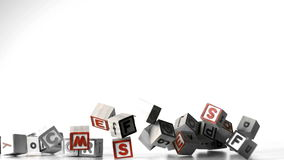All letters of alphabet blocks falling over Stock Photo