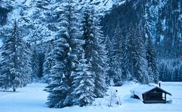 Santa Claus`s hut covered by snow royalty free stock photo