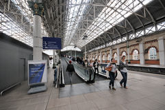 Train Station Manchester. All the main lines converge into a few coming into Central Station Manchester Stock Photo