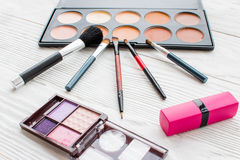 All for make-up. Cosmetics on the table in studio Royalty Free Stock Images