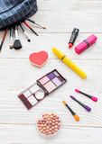 All for make-up. Cosmetics on the table in studio royalty free stock photos