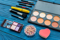 All for make-up. Cosmetics on the table in studio royalty free stock photo