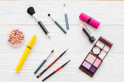 All for make-up. Cosmitics on the table in studio royalty free stock photography