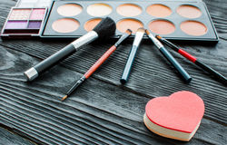 All for make-up. Cosmitics on the table in studio Royalty Free Stock Image