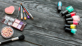 All for make-up. Cosmitics on the table in studio royalty free stock photos