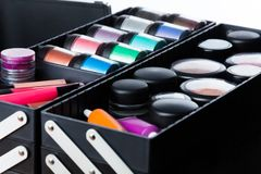 All for makeup. Close up shoot of containment of makeup case Stock Photos