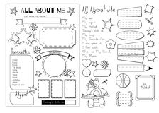 All about me. School Printable Stock Images