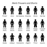 All men trousers, pant and shorts designs. vector illustration