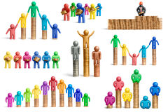 All about a money. Plasticine people with coins on a white background vector illustration